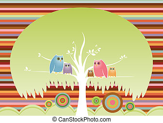 Crowded Tree - Colorful family of owls perched in their cozy...