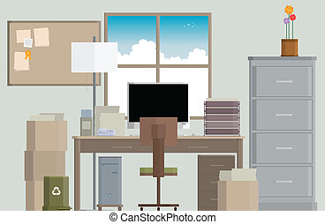 Crowded Work Desk - Vector illustration of a crowded work...