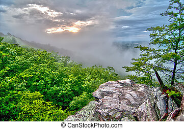 crowders mountain views with clouds and fog