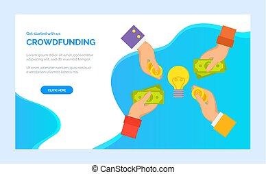 crowdfunding, お金を与えること, 始動, プロジェクト, 手