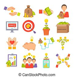 Crowdfunding and Charity Set Vector Illustration -...