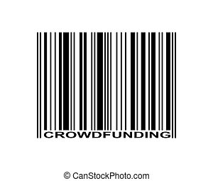 Crowdfunding word and barcode icon