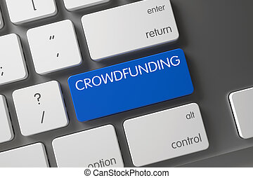Crowdfunding - Blue PC Button. 3d