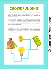 Crowdfunding Card Colorful Vector Illustration