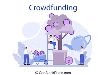 Crowdfunding concept. Financial support of new business project. Investment into innovative start up. Isolated vector illustration in cartoon style