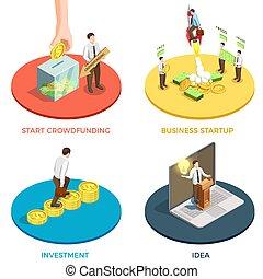 Crowdfunding Concept Icons Set