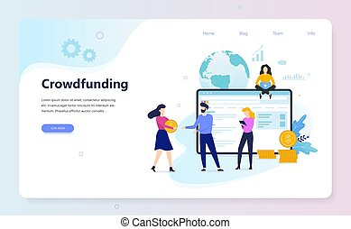 Crowdfunding concept. Idea of raising money for business ...
