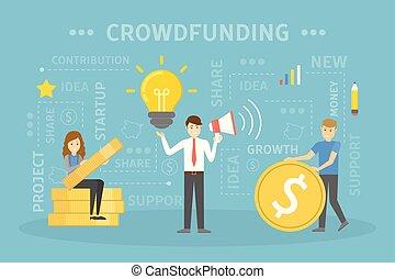 Crowdfunding concept illustration