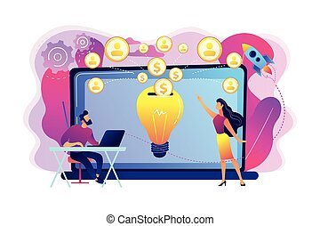 Crowdfunding concept vector illustration.