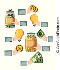 crowdfunding elements set icons of savings ideas and money in white background