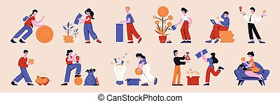 Crowdfunding flat horizontal icons set with people watering money tree rolling coins saving banknotes vector illustration