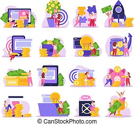 Crowdfunding Flat Set - Crowdfunding flat icons set with ...