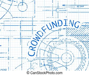 Crowdfunding Graph Paper Machine - Crowdfunding text with...