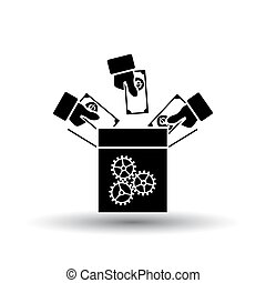 Crowdfunding Icon. Black on White Background With Shadow. Vector Illustration.