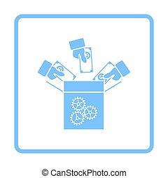 Crowdfunding Icon. Blue Frame Design. Vector Illustration.