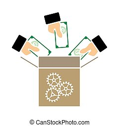 Crowdfunding Icon. Flat Color Design. Vector Illustration.