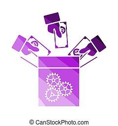 Crowdfunding Icon. Flat Color Ladder Design. Vector Illustration.