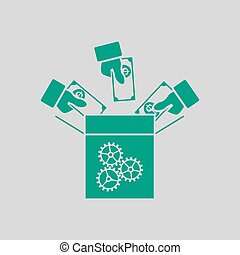 Crowdfunding Icon. Green on Gray Background. Vector ...