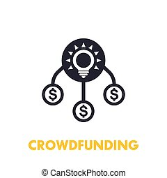 crowdfunding icon on white, eps 10 file, easy to edit