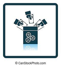 Crowdfunding Icon. Square Shadow Reflection Design. Vector Illustration.