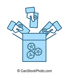Crowdfunding Icon. Thin Line With Blue Fill Design. Vector Illustration.