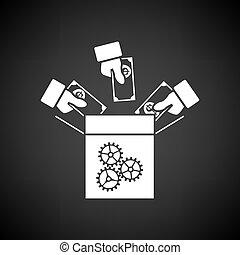 Crowdfunding Icon. White on Black Background. Vector Illustration.