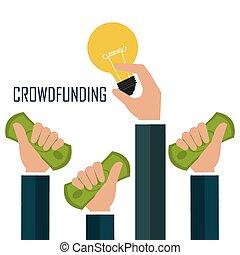 crowdfunding, ikona, design.