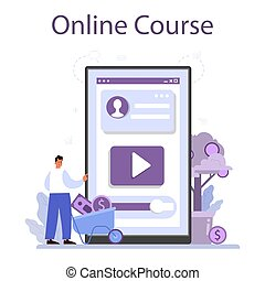Crowdfunding online service or platform. Financial support of new business project. Online course. Isolated vector illustration
