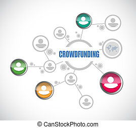 crowdfunding people diagram sign concept illustration design...