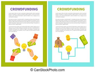 Crowdfunding Poster Icons Set Vector Illustration