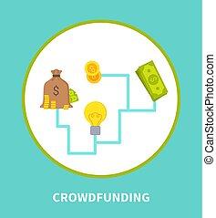 Crowdfunding Scheme Colorful Vector Illustration