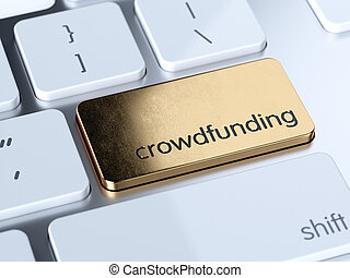 Crowdfunding sign button - Golden crowdfunding service sign ...