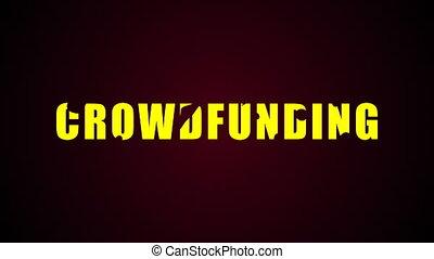Crowdfunding text. Liquid animation background