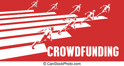 Crowdfunding with Business People Running in a Path