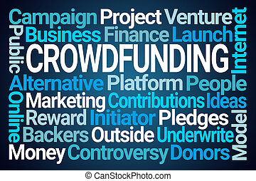 Crowdfunding Word Cloud on Blue Background