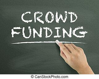 crowdfunding words written by hand on blackboard