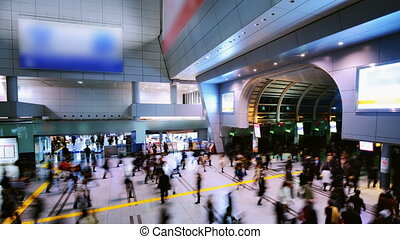crowds, в, поезд, станция