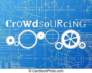 crowdsourcing, cianotipo, tecnología, dibujo