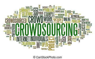 Crowdsourcing concept in word tag cloud isolated on white ...