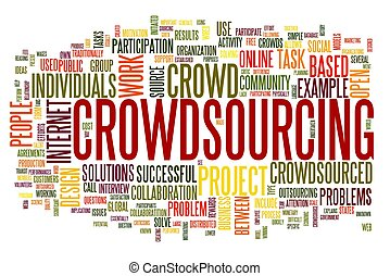 Crowdsourcing concept in word tag cloud isolated on white...