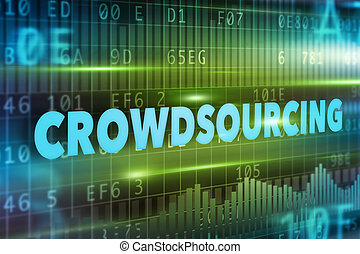 Crowdsourcing concept with blue text green background