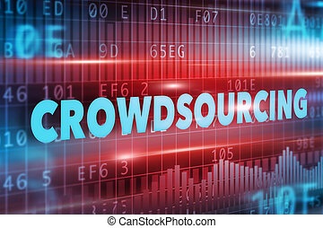 Crowdsourcing concept with blue text red background