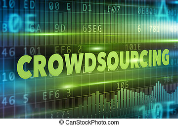 Crowdsourcing concept with green text green background