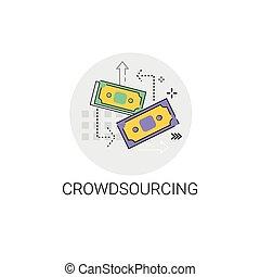 crowdsourcing, concepto, empresa / negocio, recursos, icono