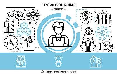 crowdsourcing, concepto, estilo, plano de fondo, contorno