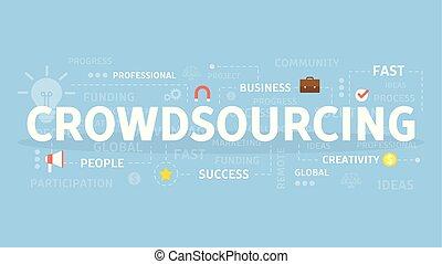 crowdsourcing, concepto, illustration.
