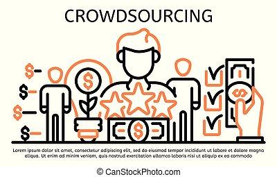 crowdsourcing, estilo, bandera, contorno