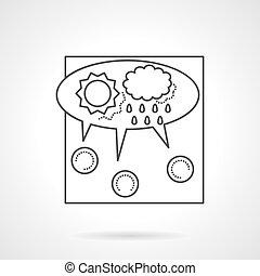 crowdsourcing, línea, vector, icono