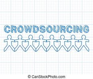 crowdsourcing, papel de gráfico, gente