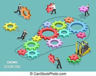 crowdsourcing, plano, isométrico, vector, concept.